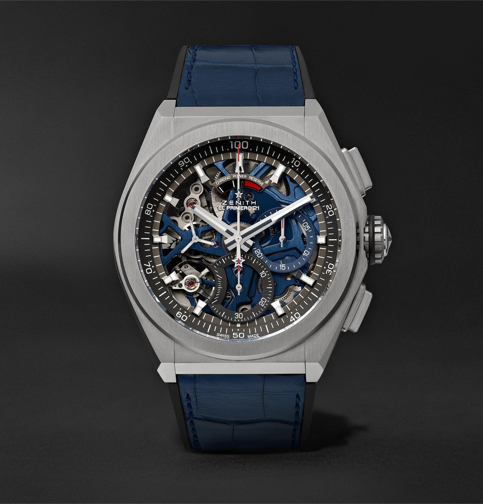 Photo: Zenith - Defy El Primero 21 Chronograph 44mm Brushed-Titanium, Alligator and Rubber Watch, Ref. No. 95.9002.9004/78.R584 - Blue