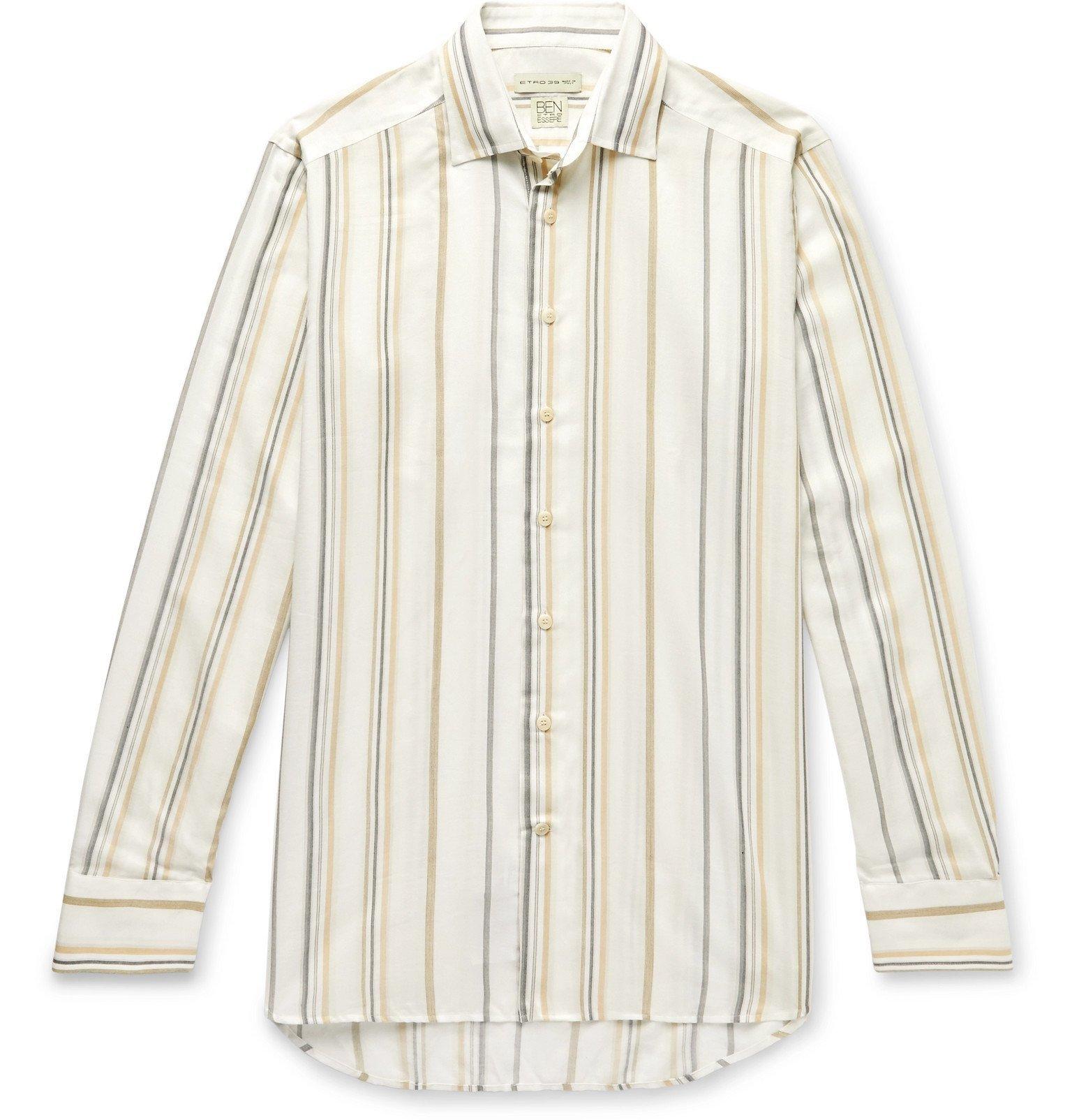 Photo: Etro - Slim-Fit Striped Woven Shirt - Neutrals