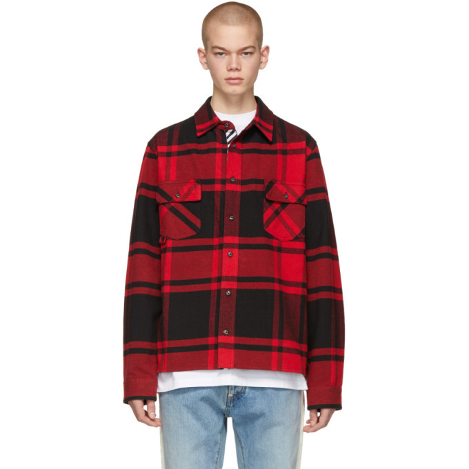 Photo: Off-White Red and Black Flannel Stencil Shirt