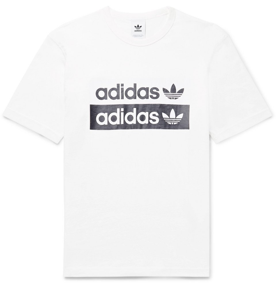 adidas Originals - Logo-Print Cotton-Jersey T-Shirt - White