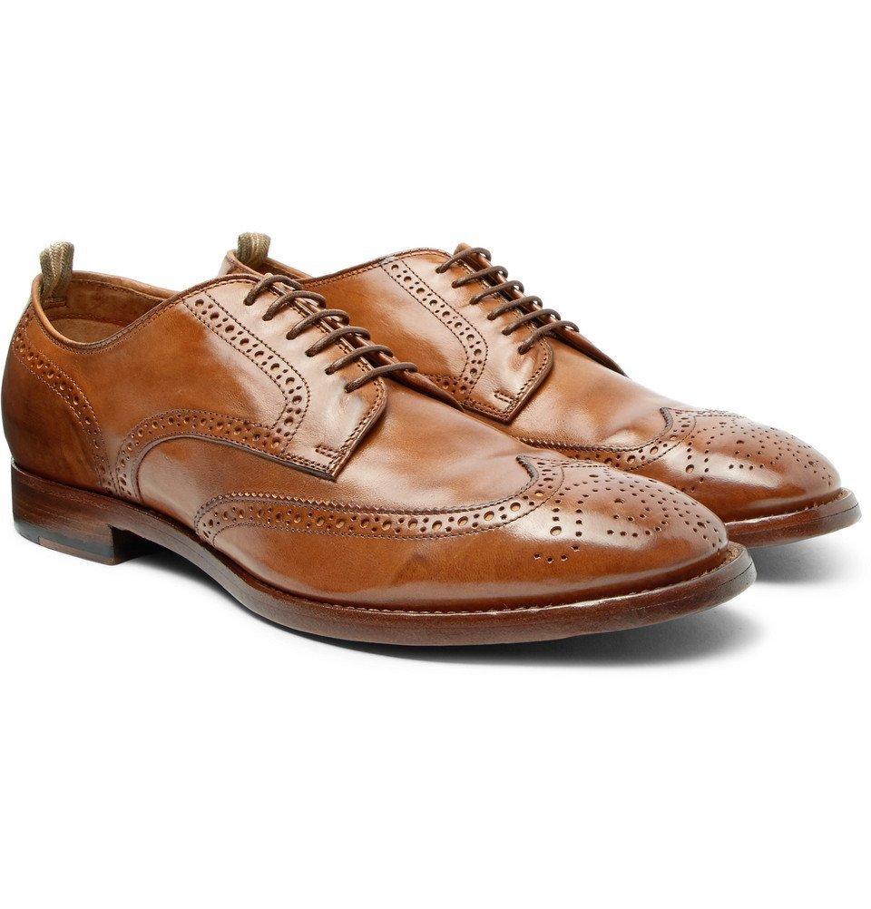 Photo: Officine Creative - Princeton Burnished-Leather Wingtip Brogues - Men - Brown