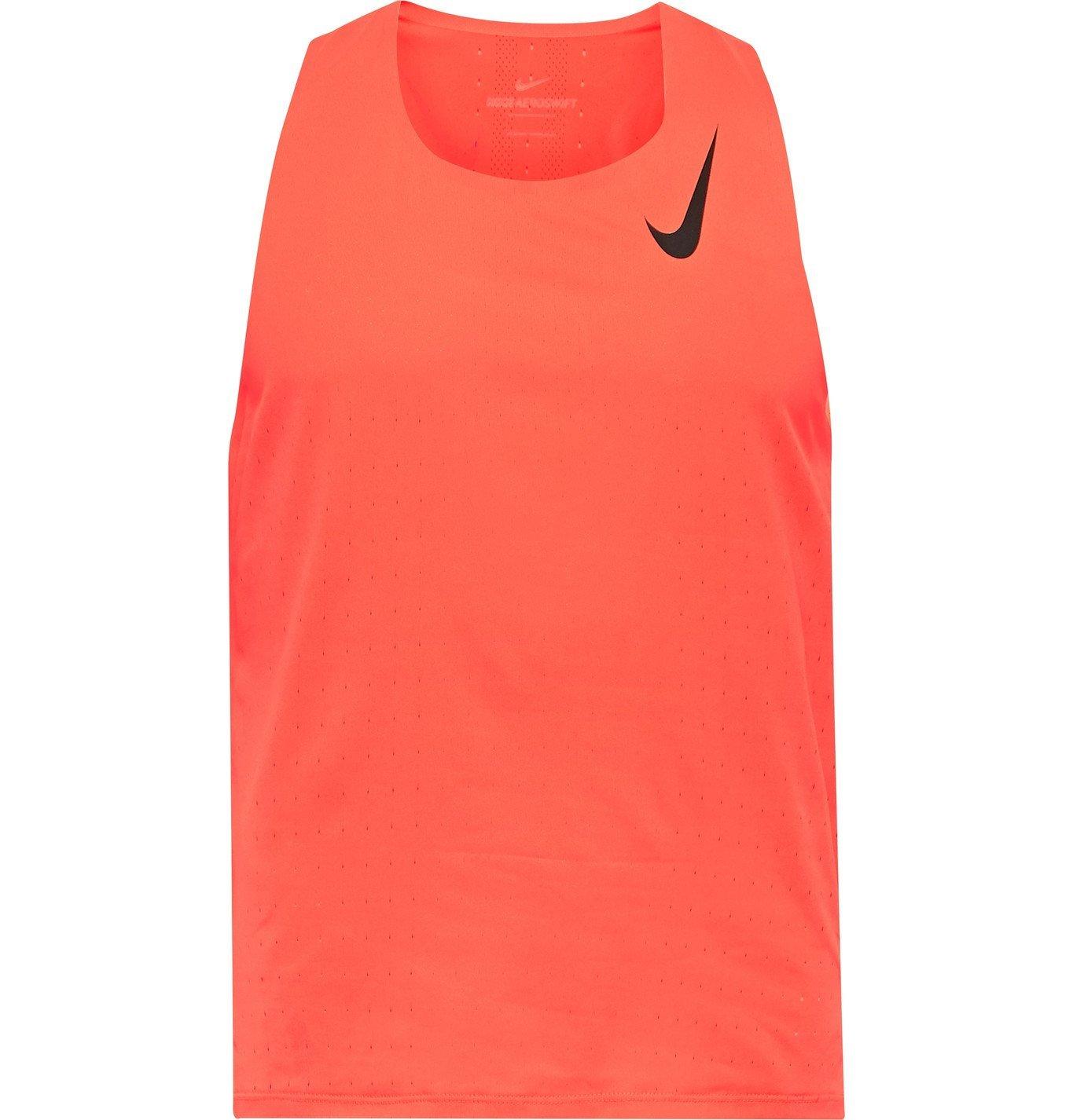 Photo: Nike Running - Aeroswift Logo-Print Perforated Dri-FIT Tank Top - Pink