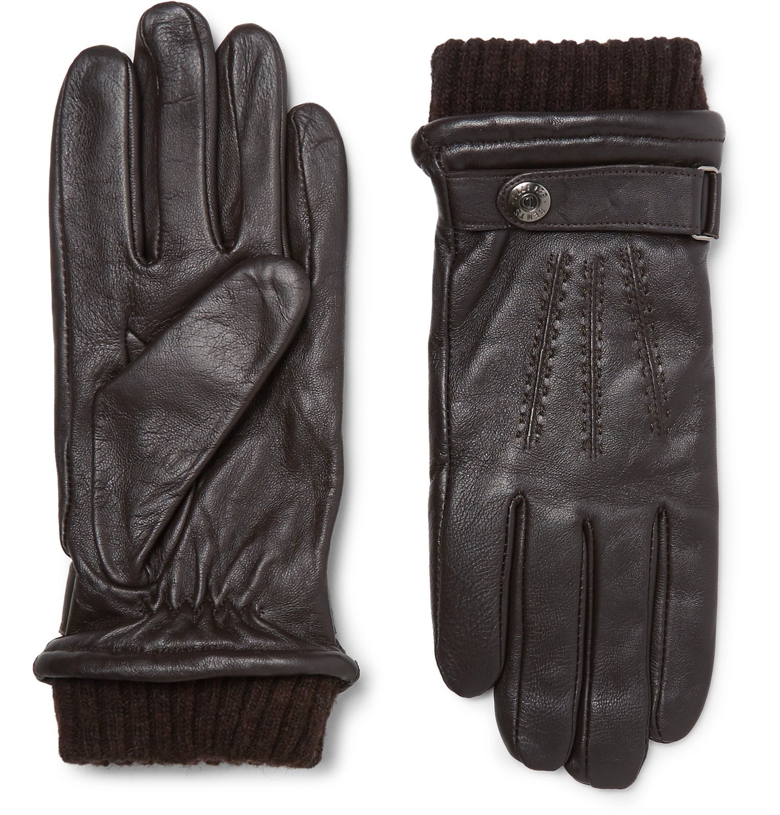 Photo: Dents - Henley Leather and Wool-Blend Tech Gloves - Brown