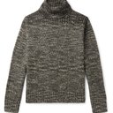 RRL - Cotton, Wool and Linen-Blend Rollneck Sweater - Gray