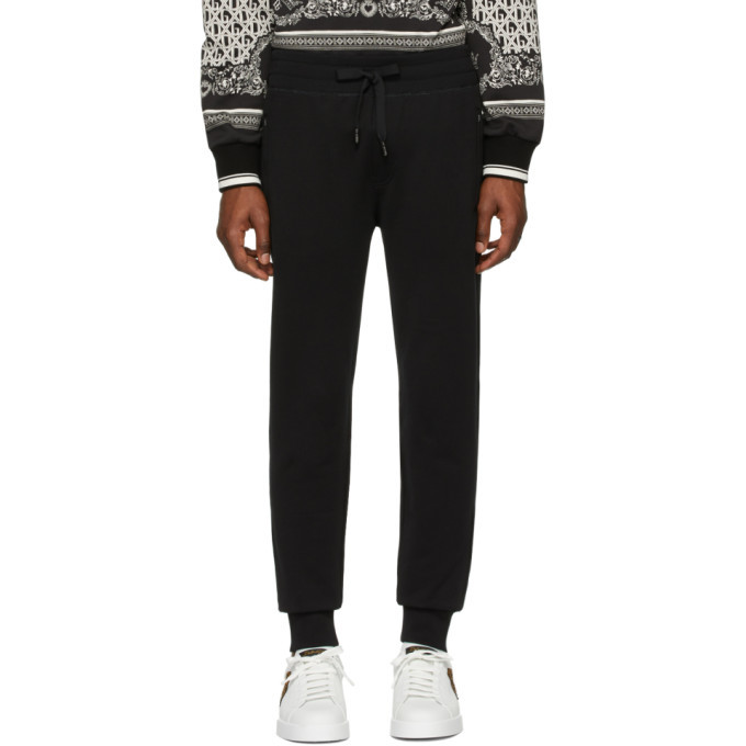 Photo: Dolce and Gabbana Black Logo Plaque Sweatpants