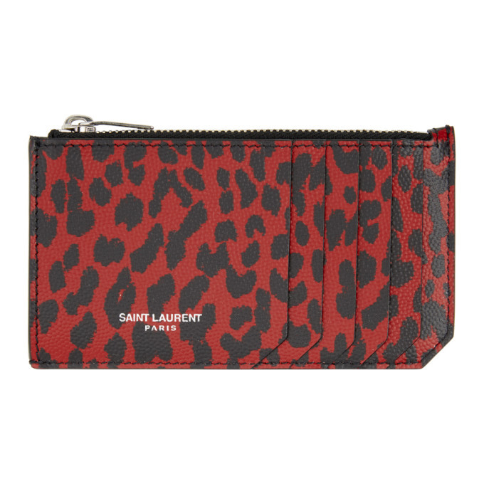 Photo: Saint Laurent Red and Black Baby Cat Fragment Card Holder