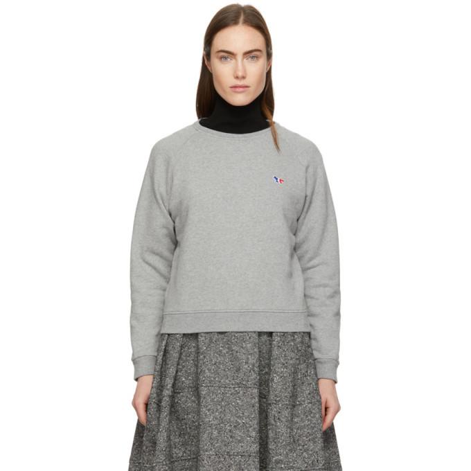 Photo: Maison Kitsune Grey Tricolor Fox Patch Sweatshirt