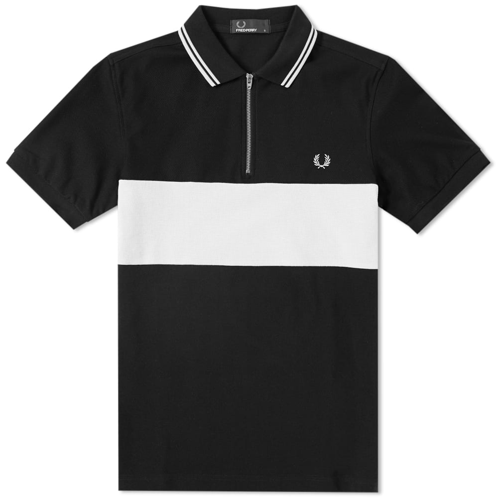 Photo: Fred Perry Panelled Zip Neck Retro Polo