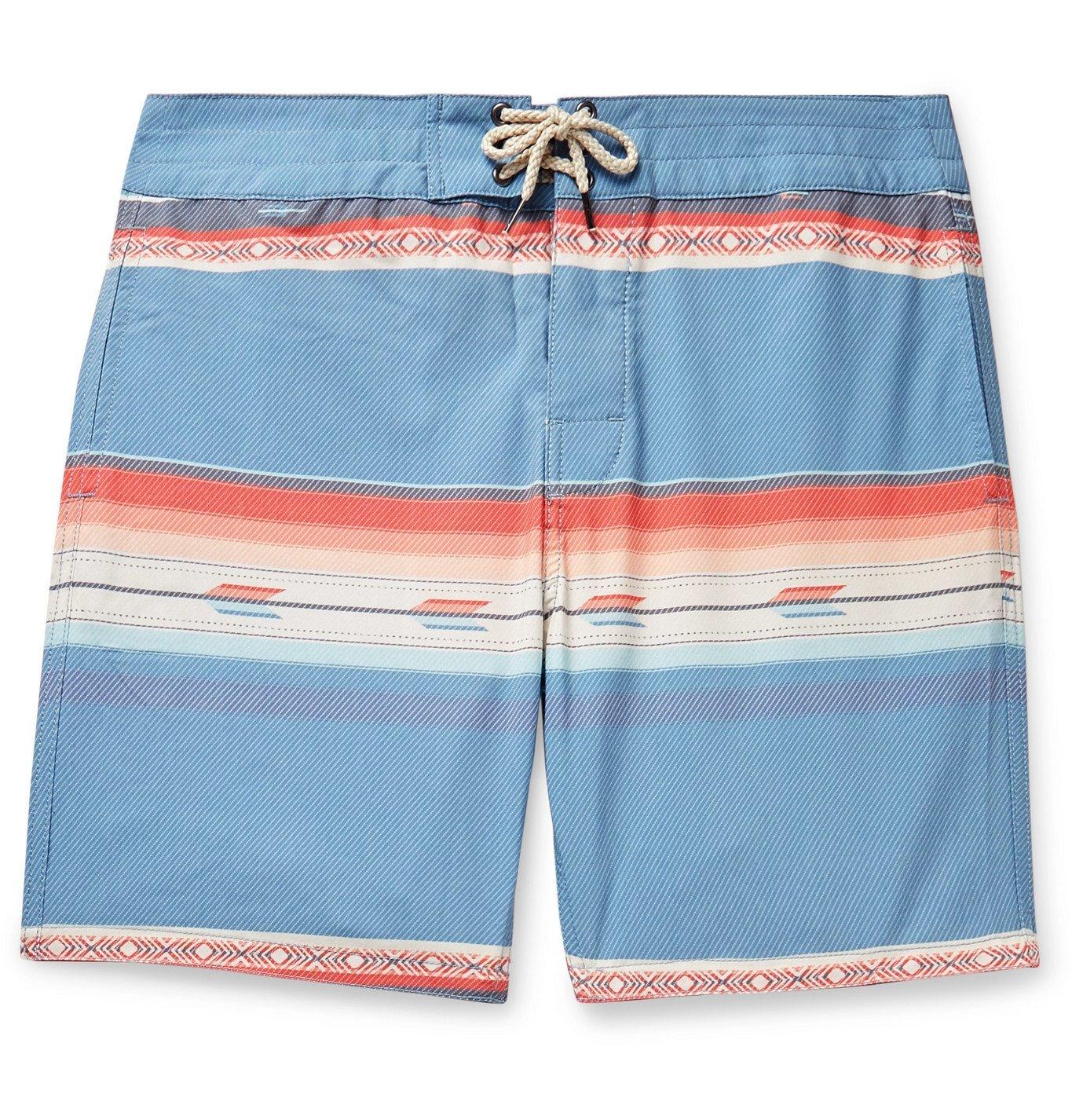 Photo: Faherty - Mid-Length Striped Swim Shorts - Blue