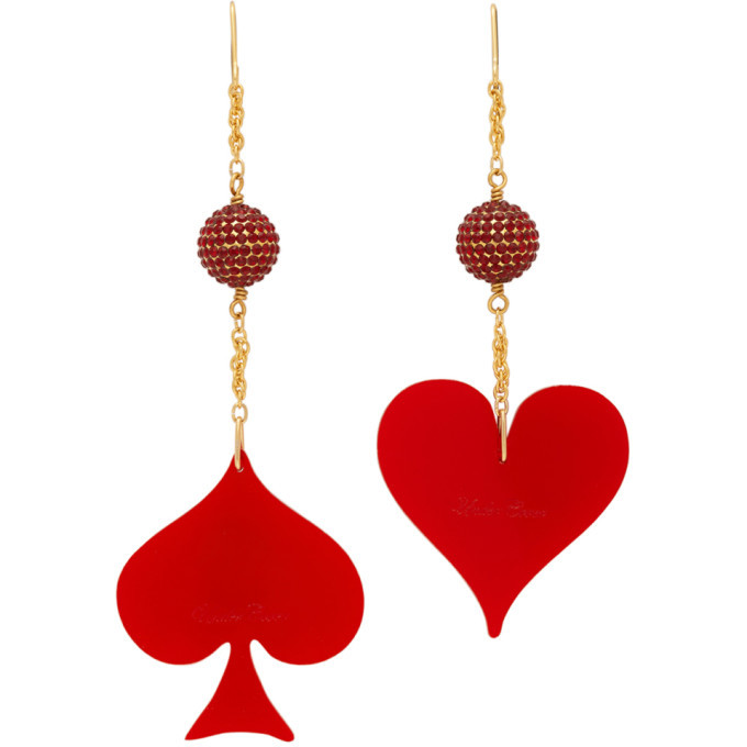 Photo: Undercover Red and Gold Spade and Heart Earrings