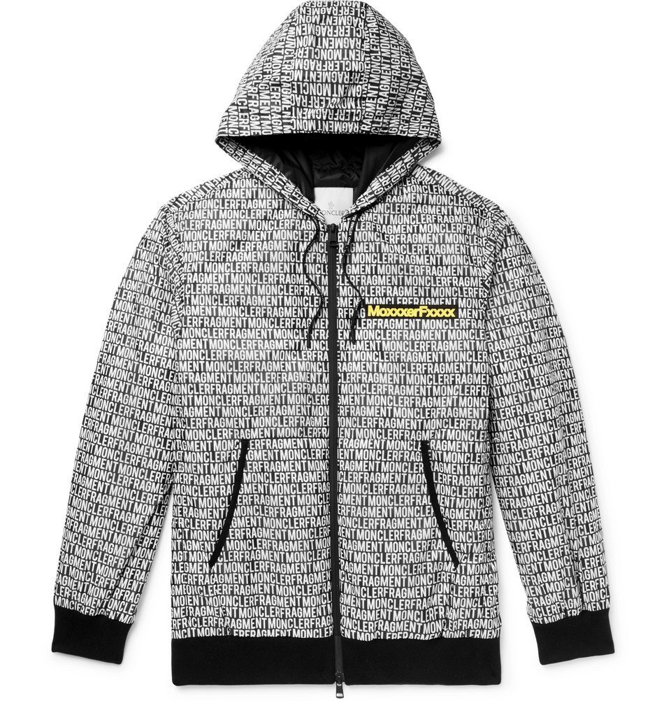 Photo: Moncler Genius - Moncler 7 Fragment Logo-Print Nylon-Ripstop Hooded Down Jacket - Black