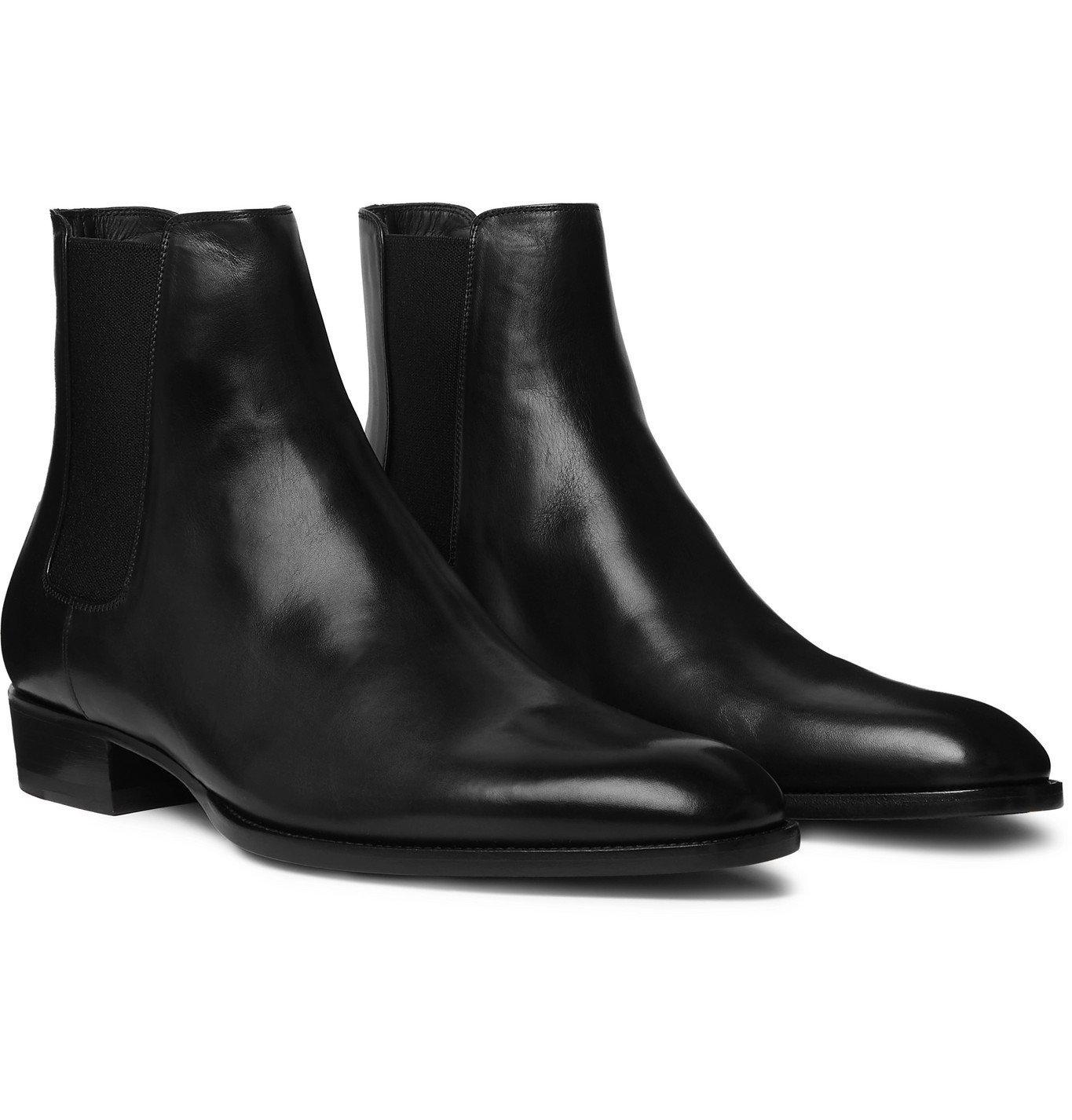 Photo: SAINT LAURENT - Wyatt Leather Chelsea Boots - Black