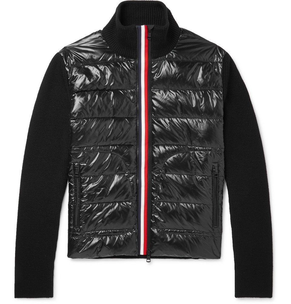 Photo: Moncler - Panelled Virgin Wool and Quilted Shell Down Jacket - Black