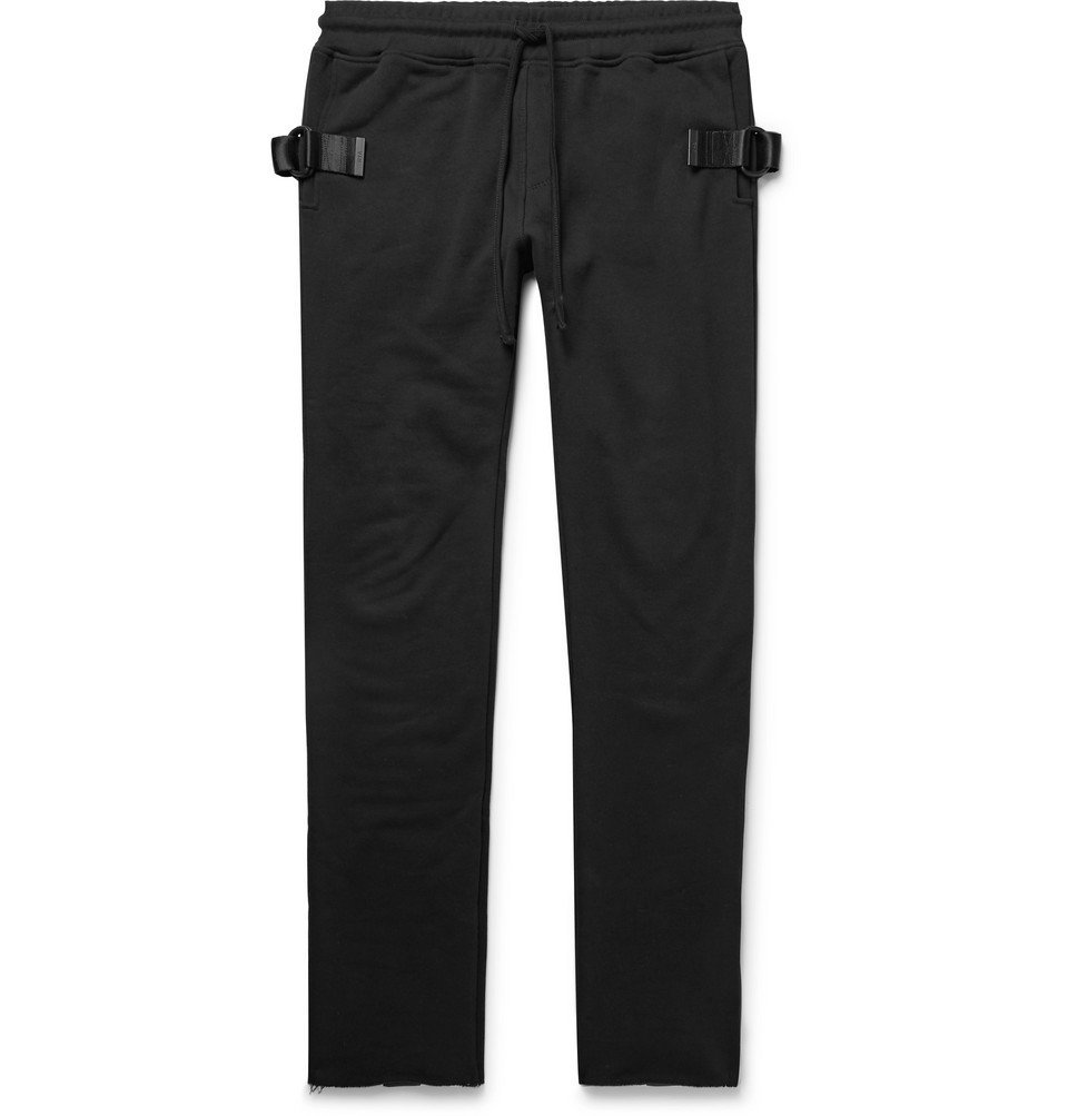 Photo: RtA - Slim-Fit Tapered Webbing-Trimmed Loopback Cotton-Jersey Sweatpants - Black