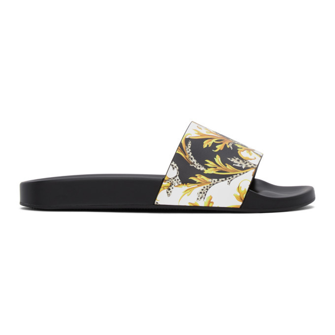 Photo: Versace Black and Gold Barocco Slides