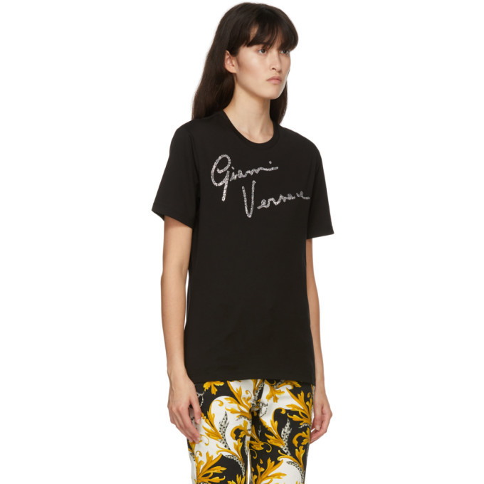 Versace Black Crystal GV Signature T-Shirt