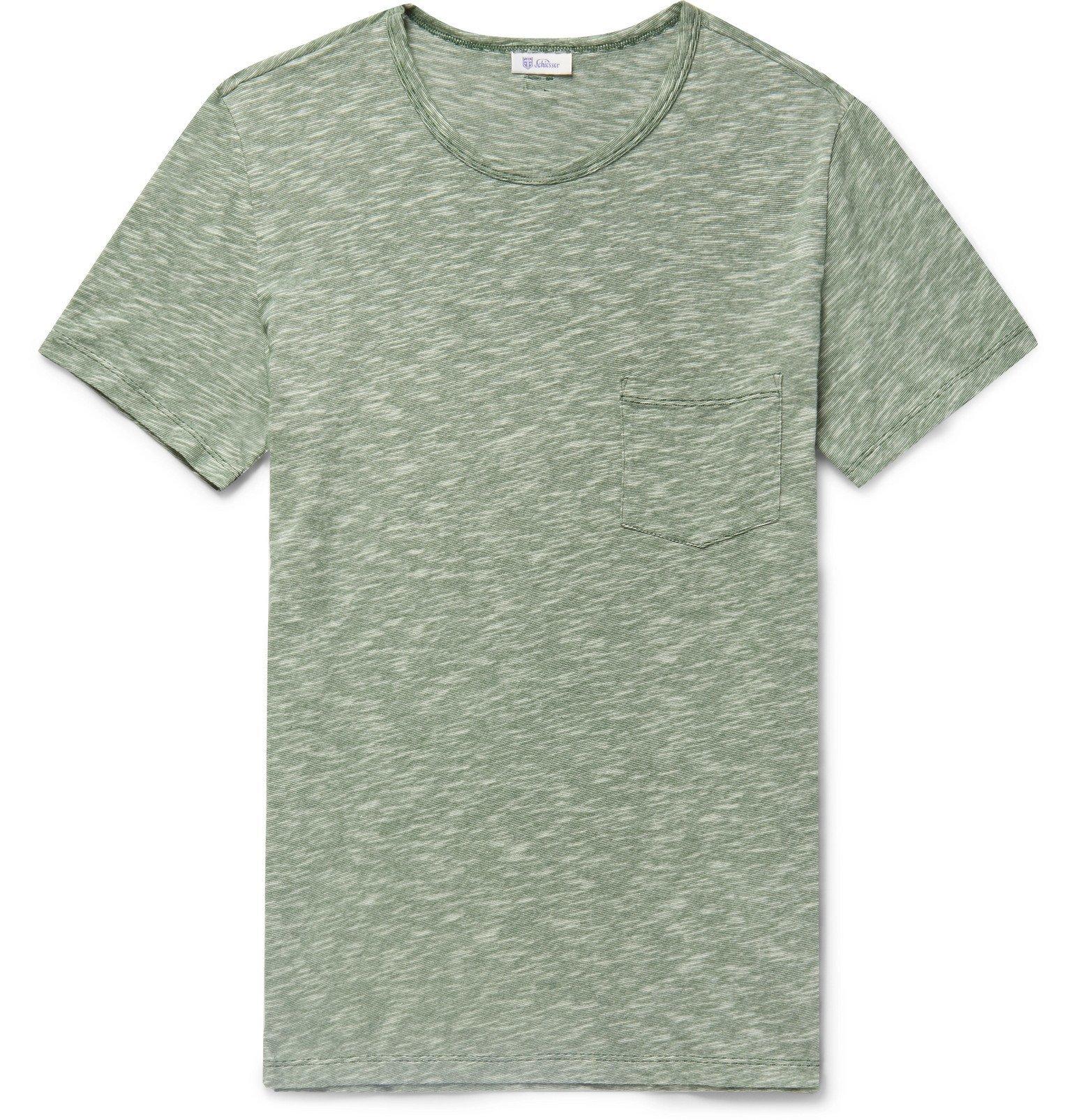 Schiesser - Rudolf Mélange Cotton T-Shirt - Green