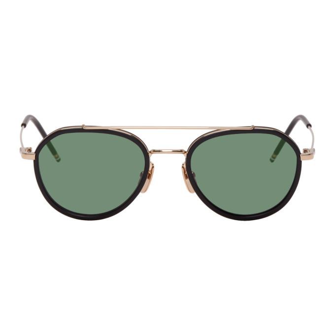 Photo: Thom Browne Gold and Black TB-801 Sunglasses