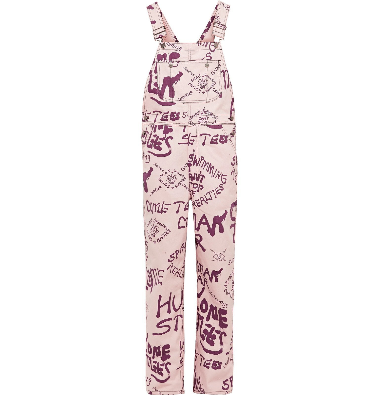 Photo: COME TEES - Printed Denim Overalls - Pink