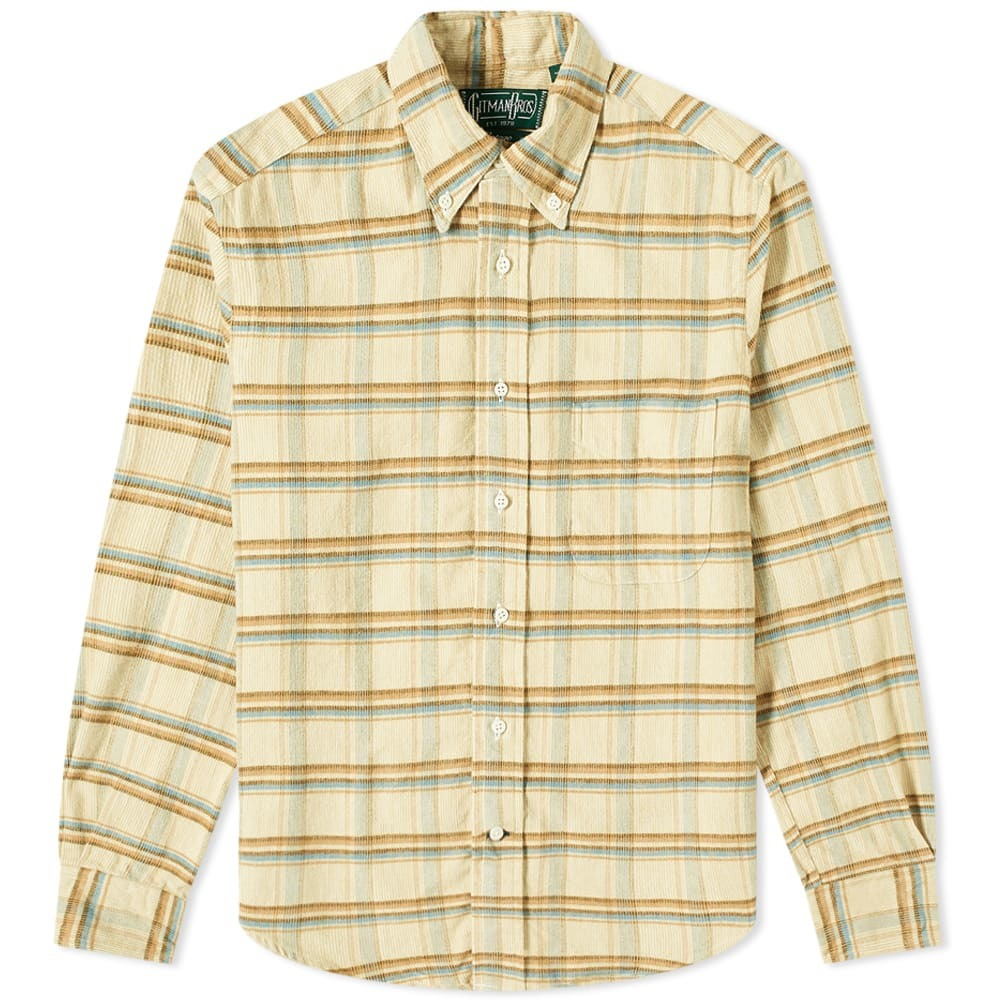 Photo: Gitman Vintage Button Down Brushed Corduroy Check Shirt