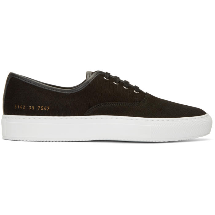 Common Projects Black Canvas Tournament Four Hole Sneakers