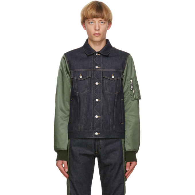 Photo: Alexander McQueen Blue and Khaki Denim Hybrid Jacket