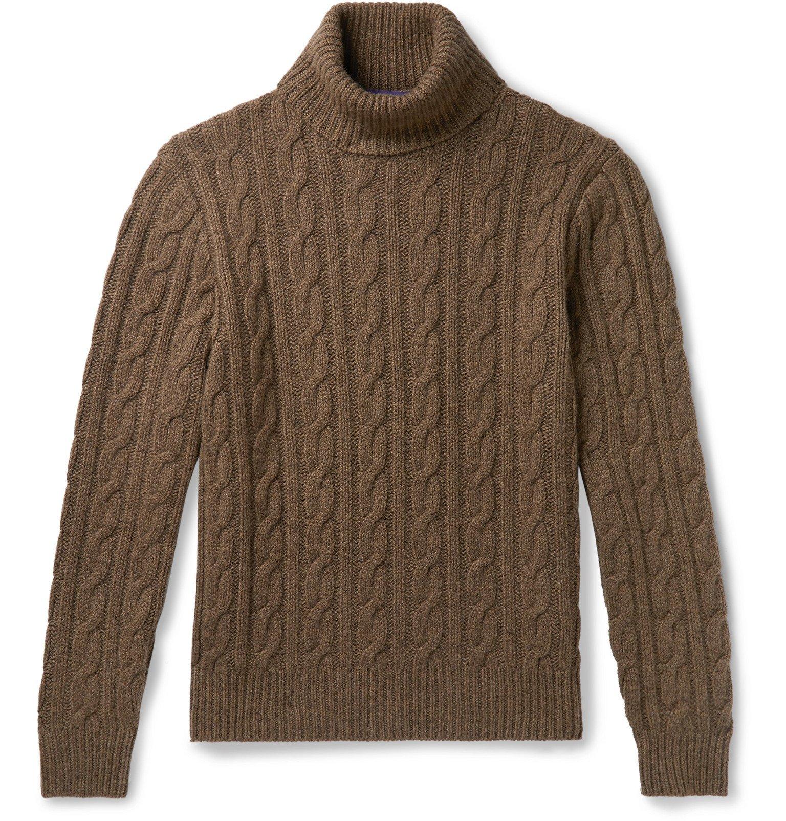 Photo: Ralph Lauren Purple Label - Cable-Knit Mélange Cashmere Rollneck Sweater - Neutrals