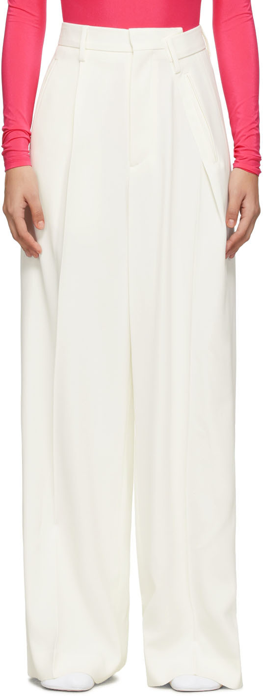 Photo: MM6 Maison Margiela Off-White Distorted Trousers