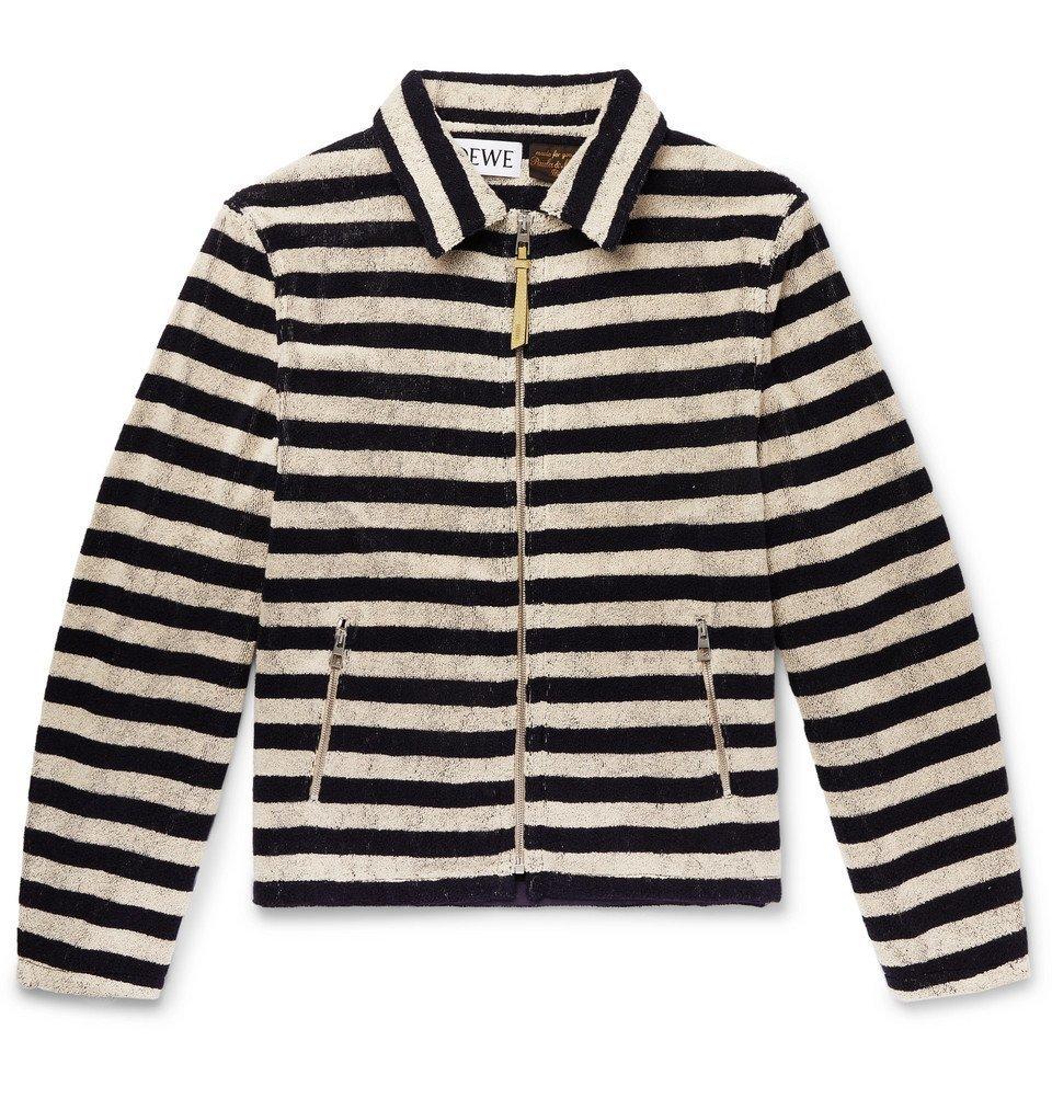 Photo: Loewe - Paula's Ibiza Appliquéd Striped Cotton-Terry Zip-Up Sweatshirt - Ecru