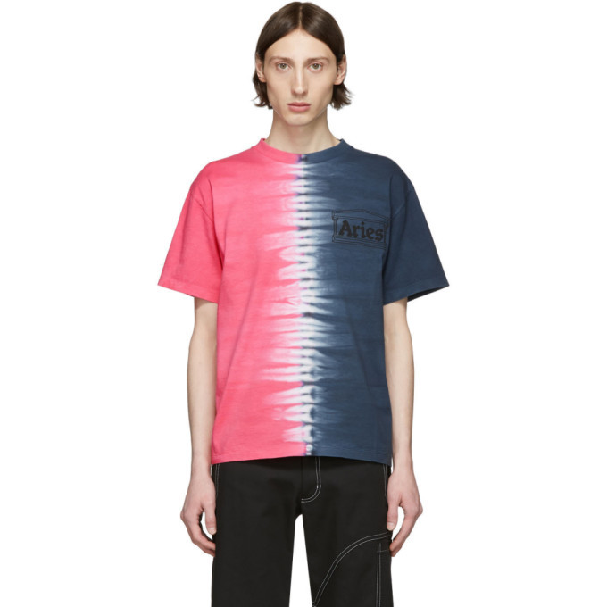 Aries Pink and Blue Tie-Dye Temple T-Shirt