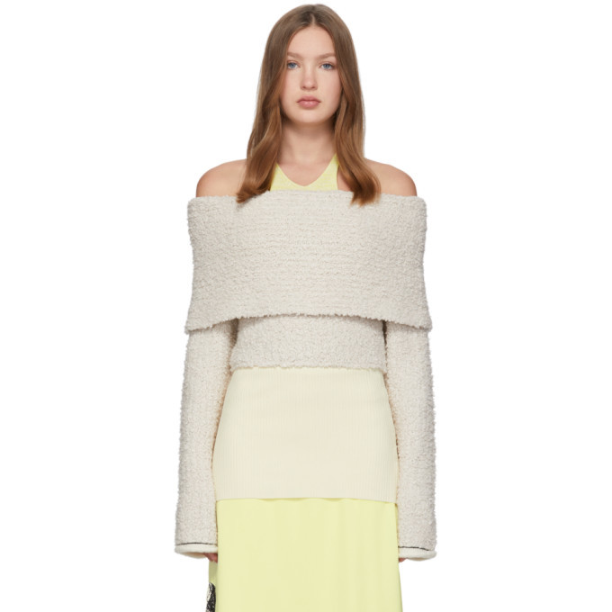 3.1 Phillip Lim Off-White Merino Off-The-Shoulder Sweater