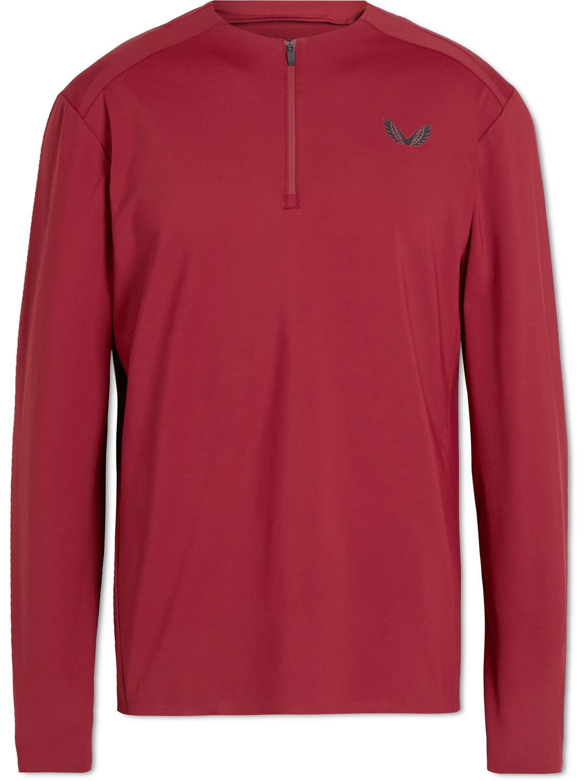 Photo: Castore - Logo-Print Stretch-Jersey Half-Zip Running Top - Burgundy