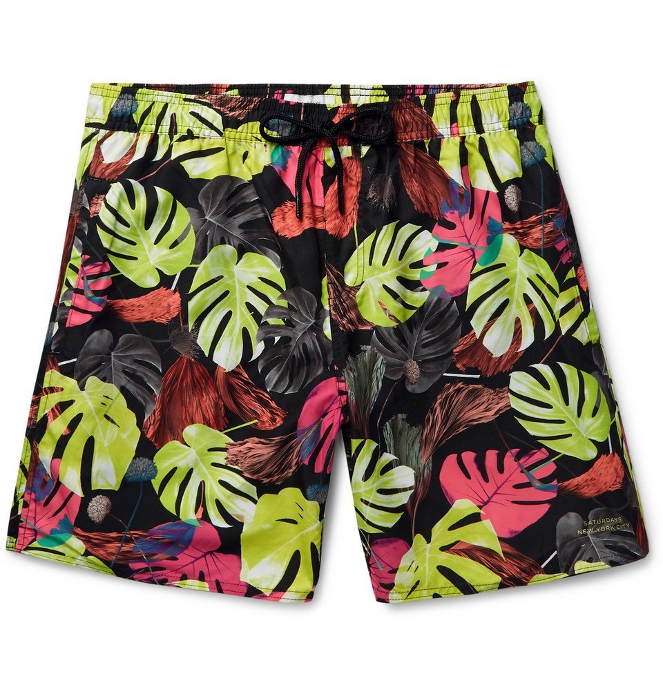 Photo: Saturdays NYC - Wide-Leg Mid-Length Printed Swim Shorts - Black
