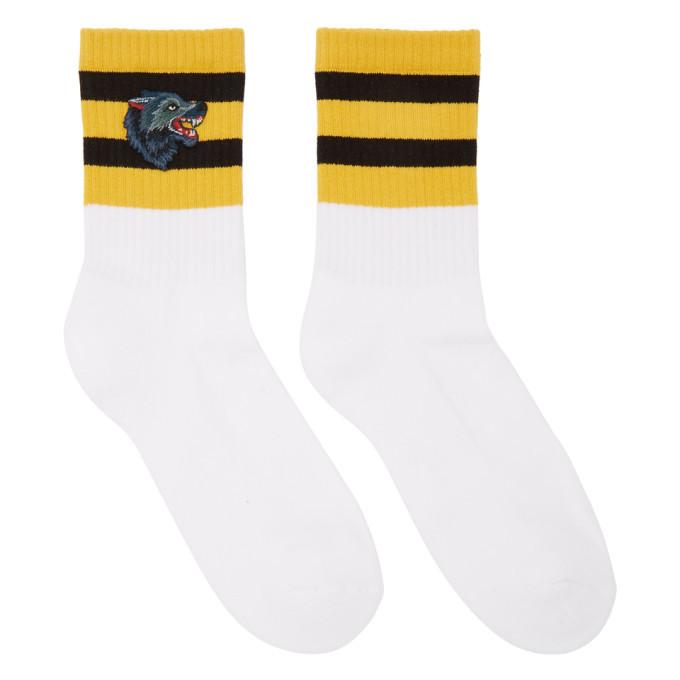 Photo: Gucci White Striped Wolf Socks