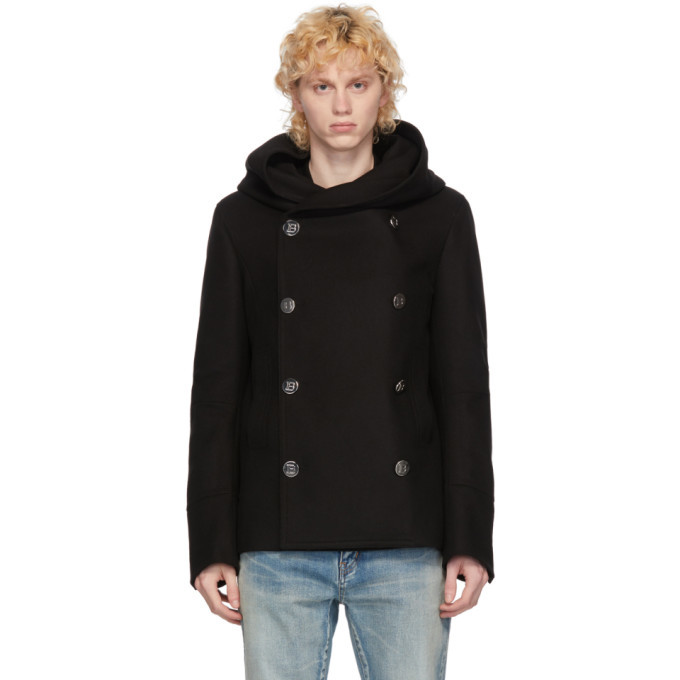 Photo: Balmain Black Double-Breasted Hooded Peacoat