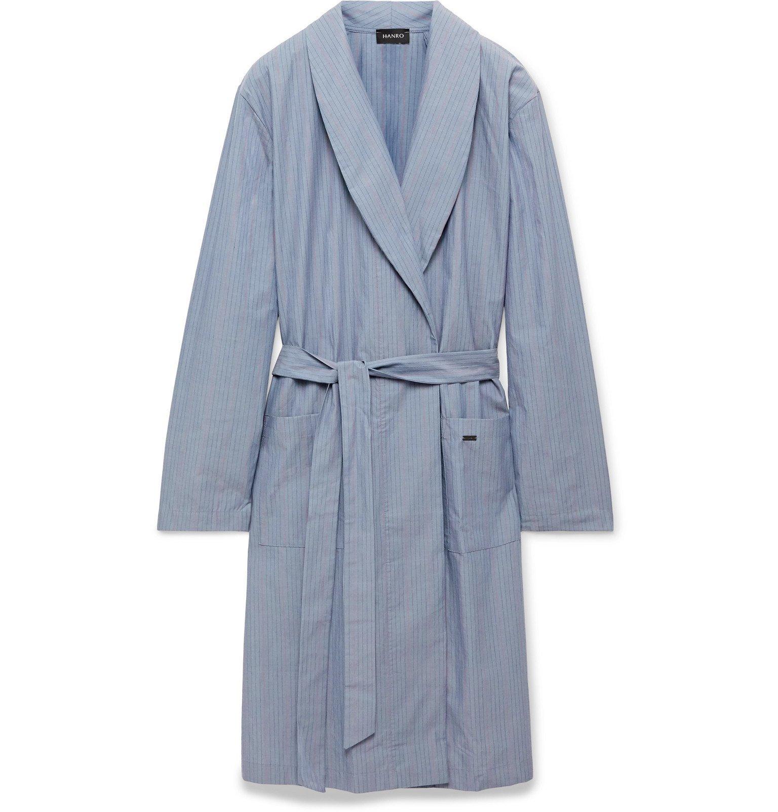 Hanro - Striped Mercerised Cotton-Chambray Robe - Blue