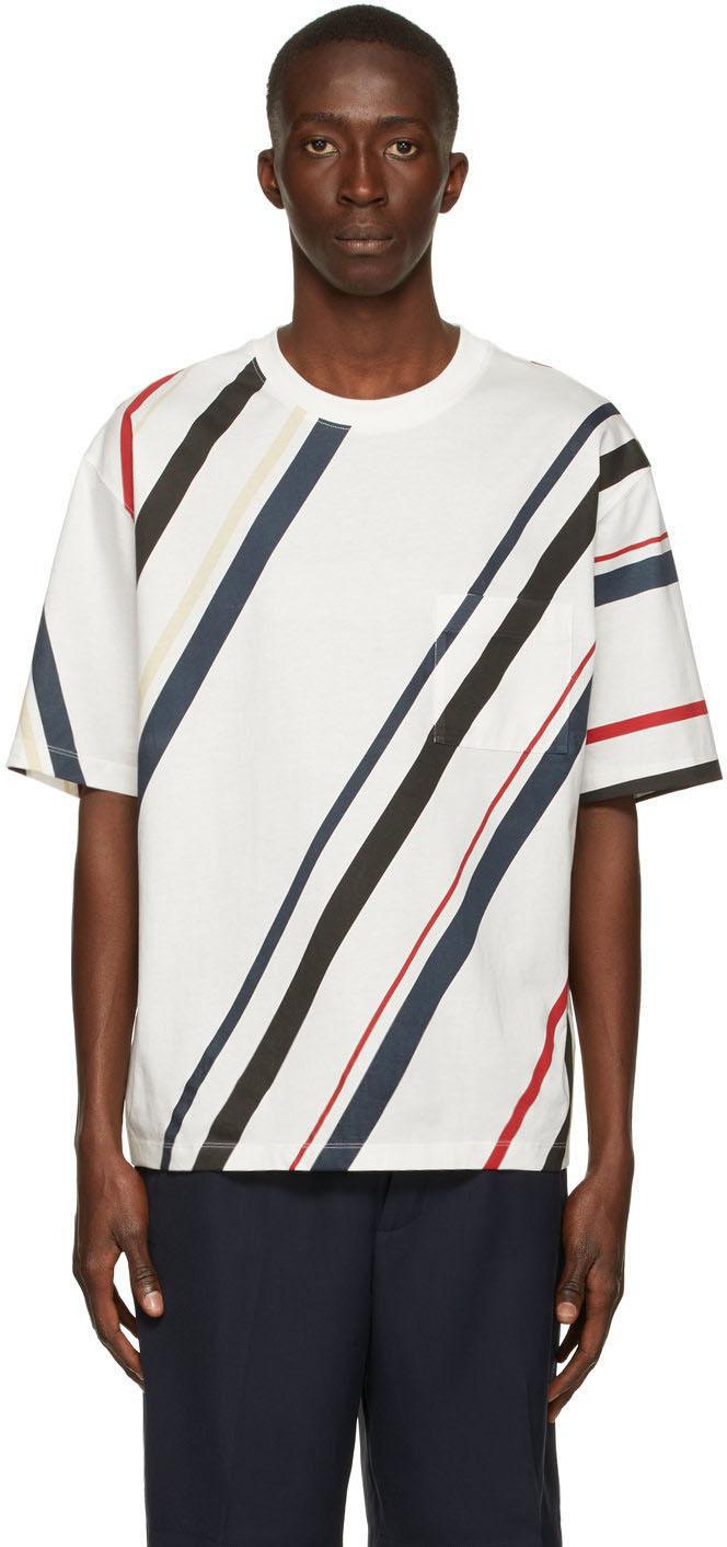 Photo: 3.1 Phillip Lim White Striped Pocket T-Shirt