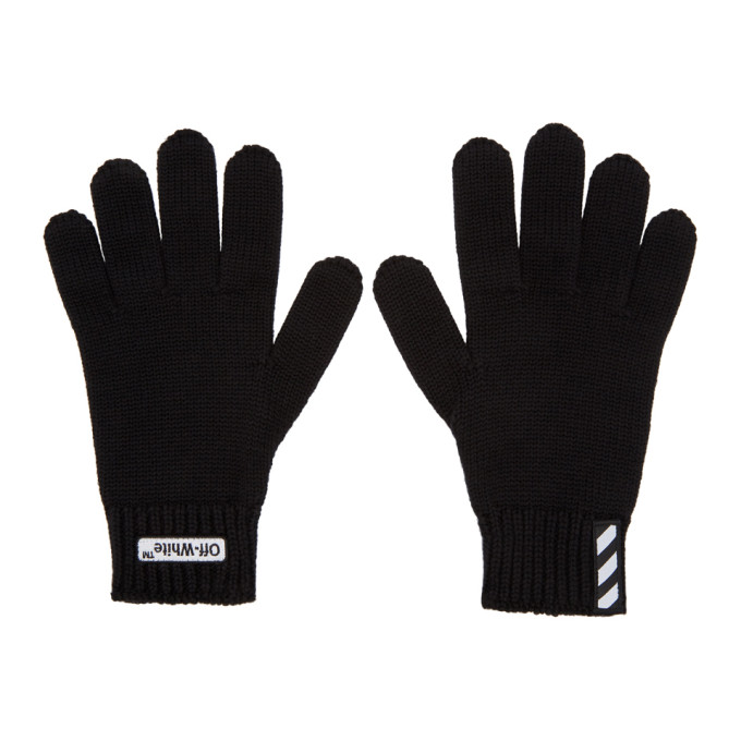 Photo: Off-White Black Wool Logo Gloves