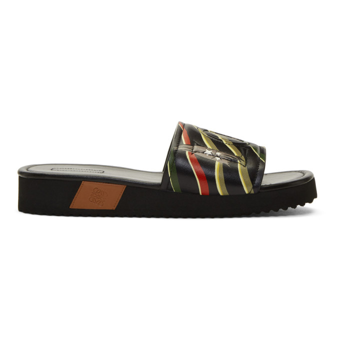 Photo: Loewe Black Paula Ibizas Edition Leather Logo Slides