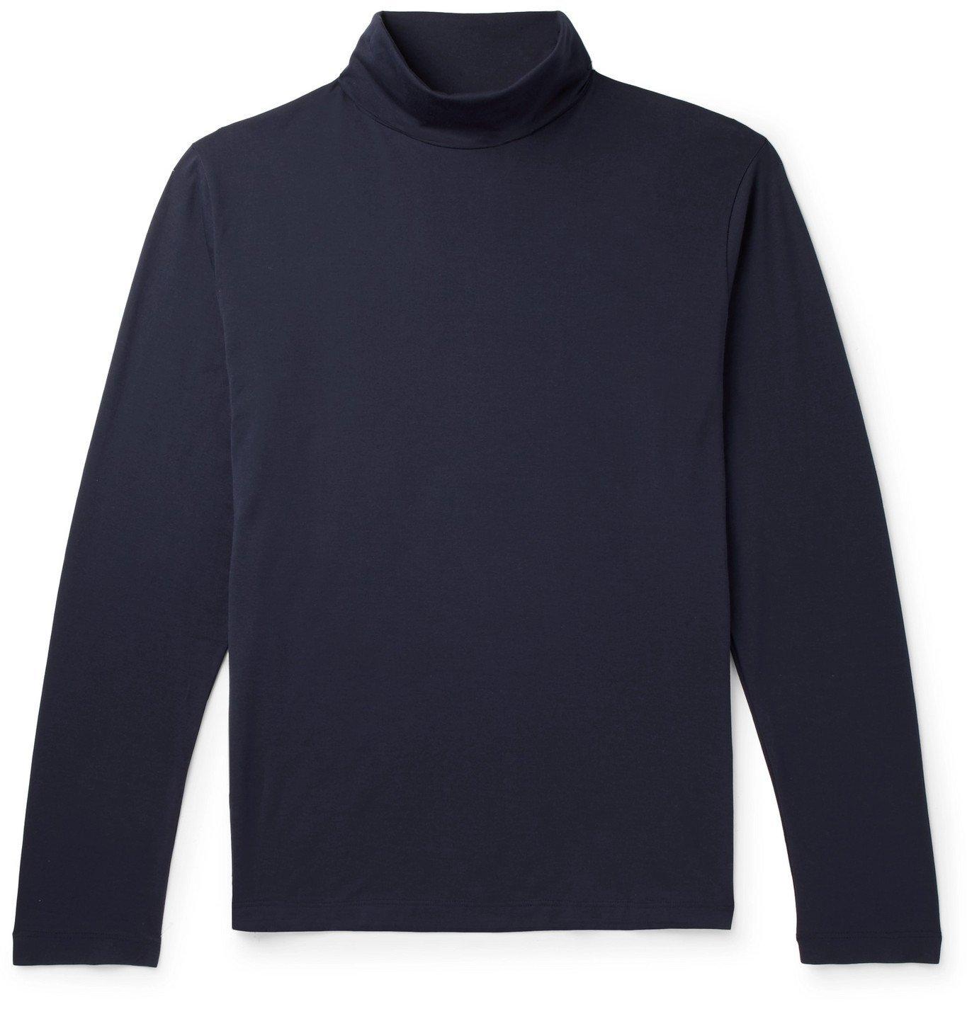 Photo: Handvaerk - Pima Cotton-Jersey Rollneck T-Shirt - Blue