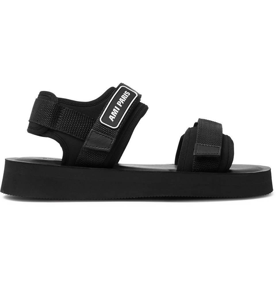 Photo: AMI - Logo-Detailed Neoprene Sandals - Black