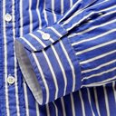 Sacai - Shell-Trimmed Quilted Striped Cotton-Poplin Overshirt - Blue