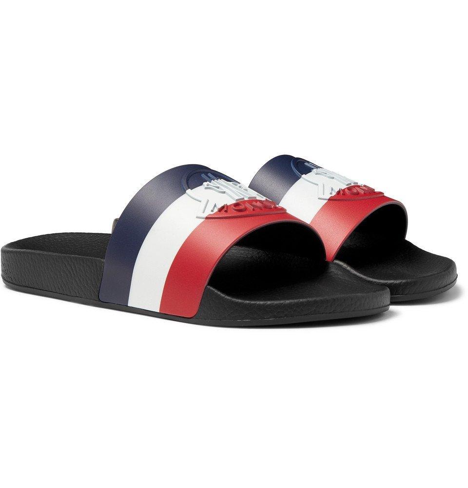 Photo: Moncler - Logo-Embossed Striped Rubber Slides - Black