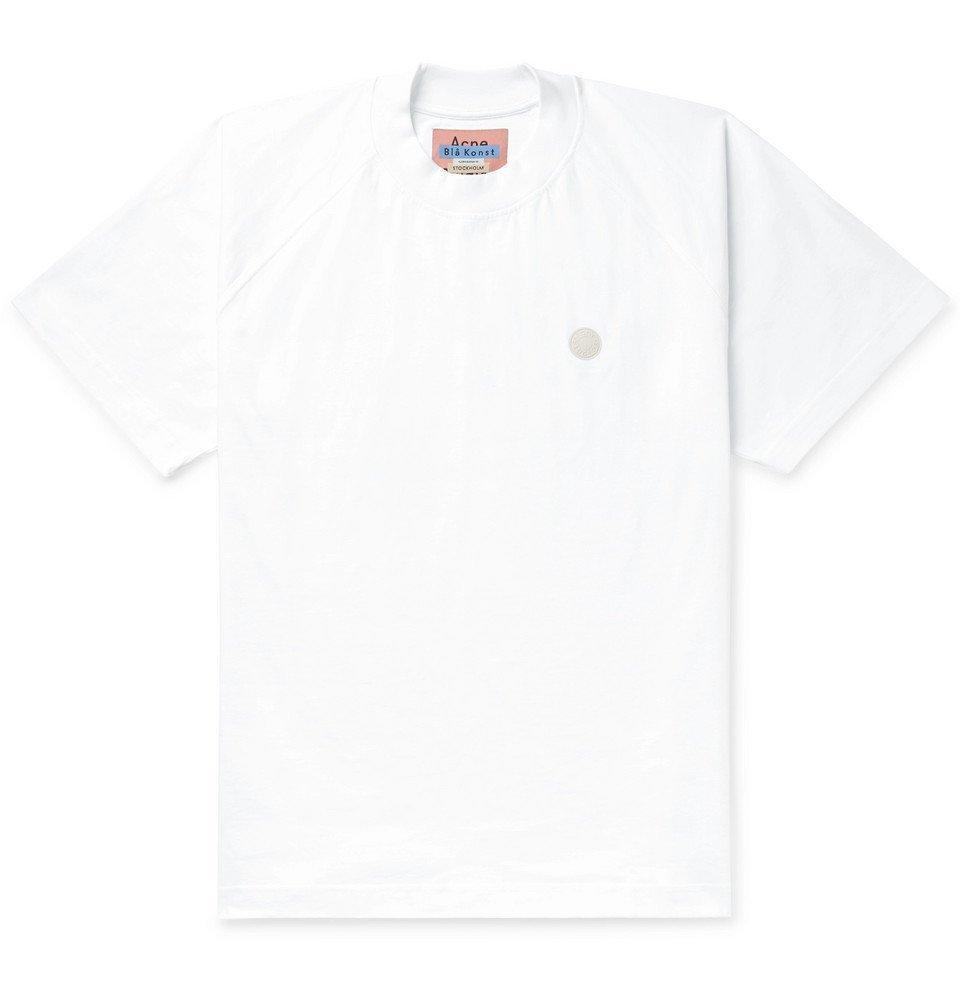 Photo: Acne Studios - Bassetty Uni Oversized Logo-Appliquéd Cotton-Jersey T-Shirt - White