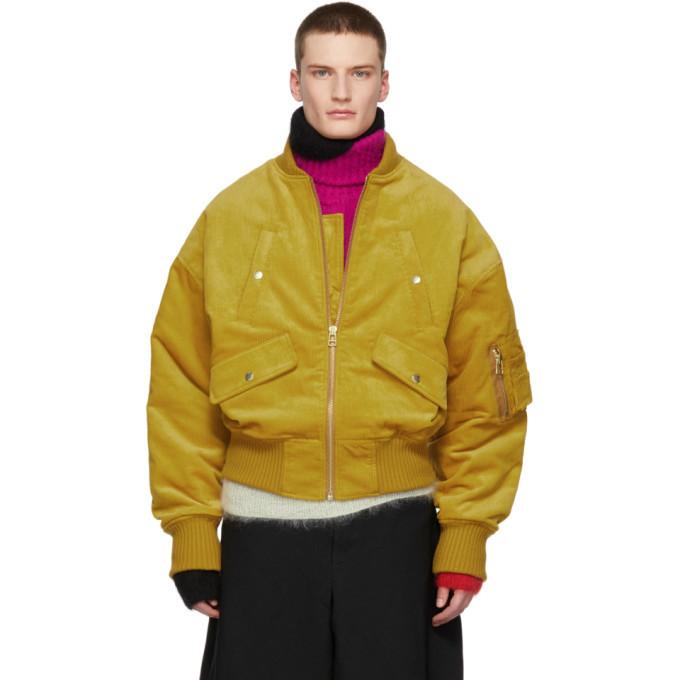 Photo: Landlord Yellow Corduroy Bomber Jacket