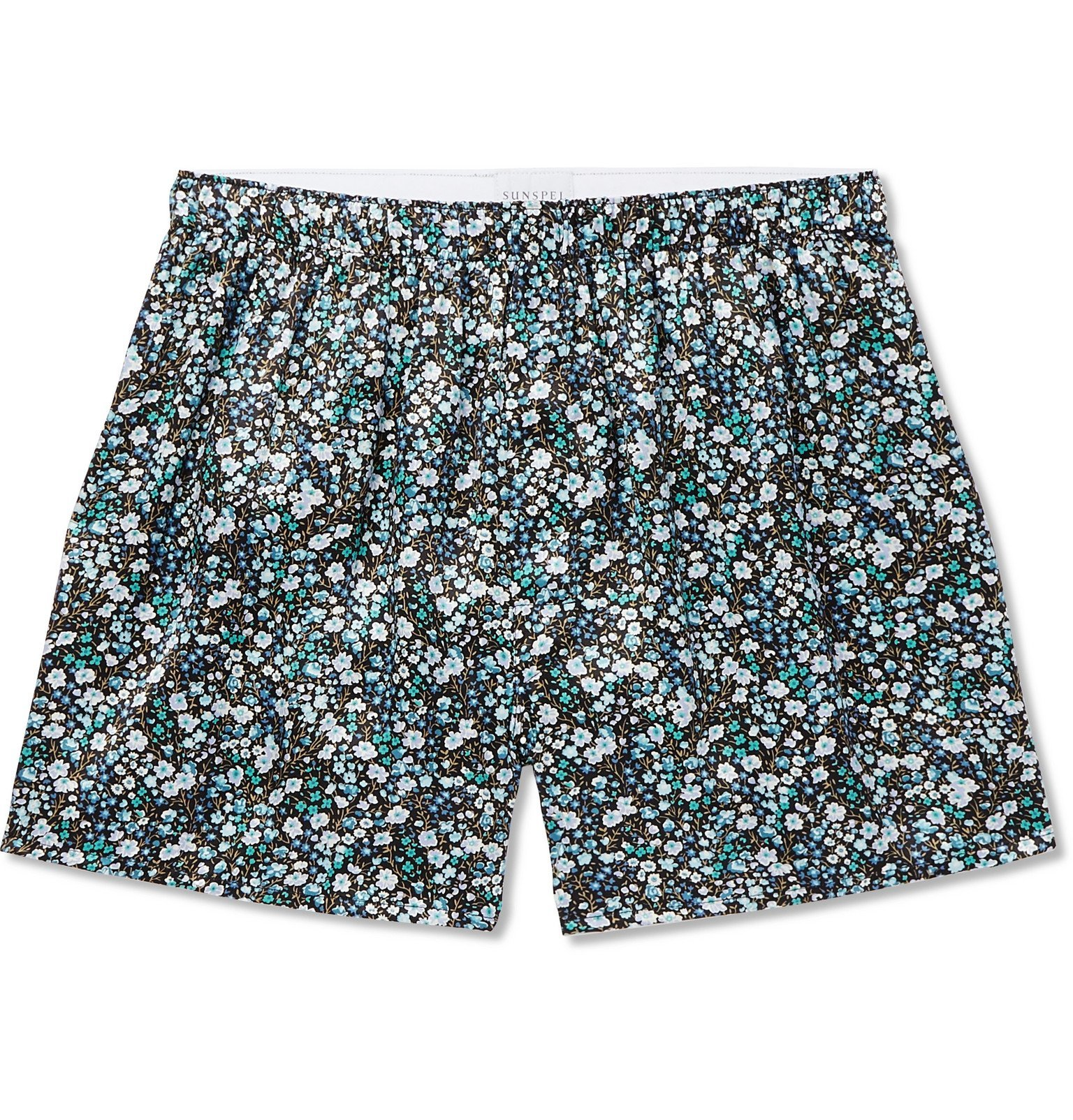 Photo: Sunspel - Printed Silk-Satin Boxer Shorts - Green