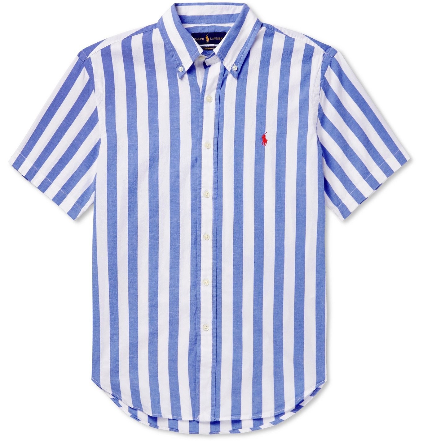 Photo: Polo Ralph Lauren - Slim-Fit Button-Down Collar Striped Cotton Shirt - Blue