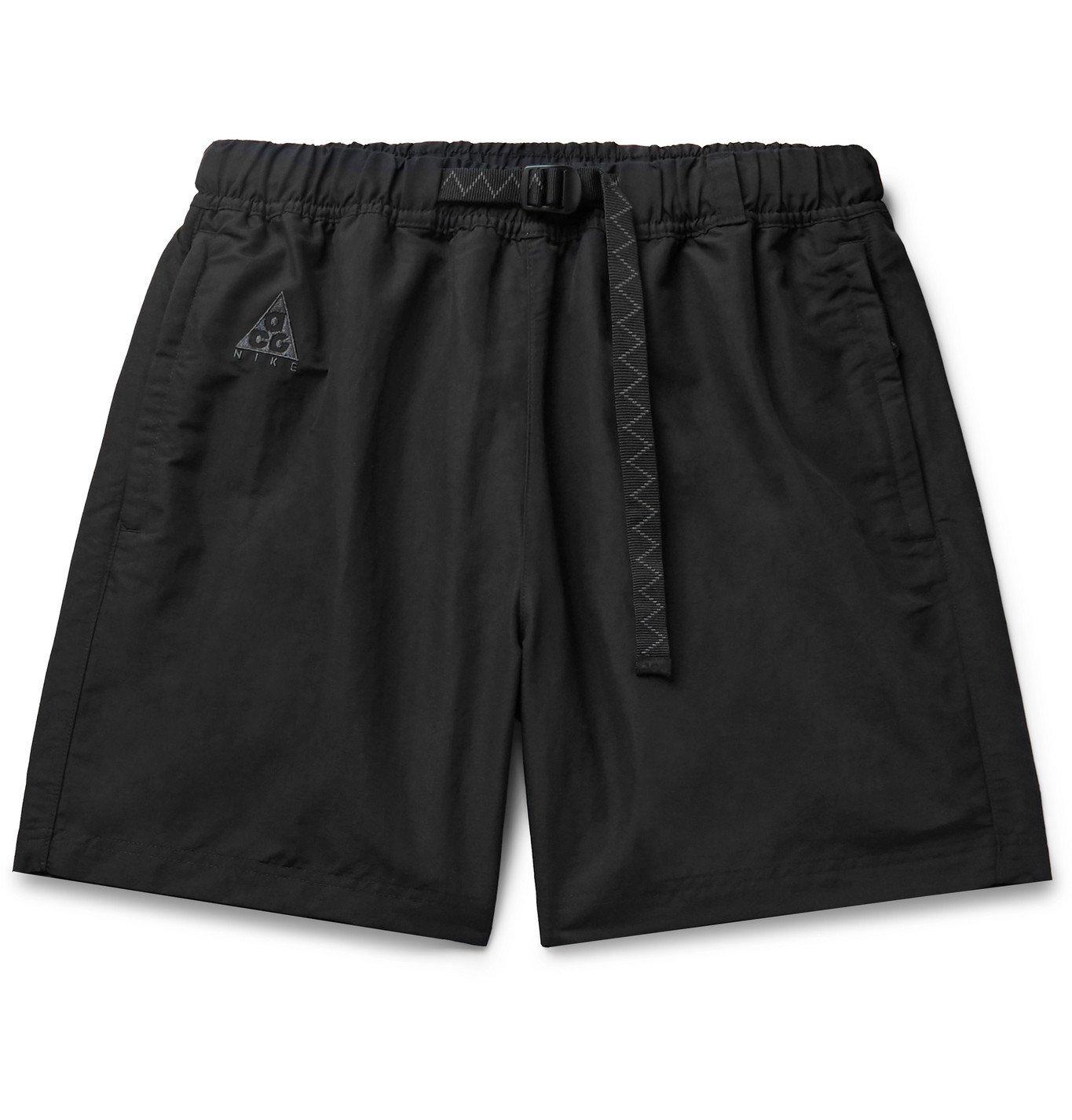 Photo: Nike - ACG Wide-Leg Logo-Embroidered Belted Nylon Shorts - Black
