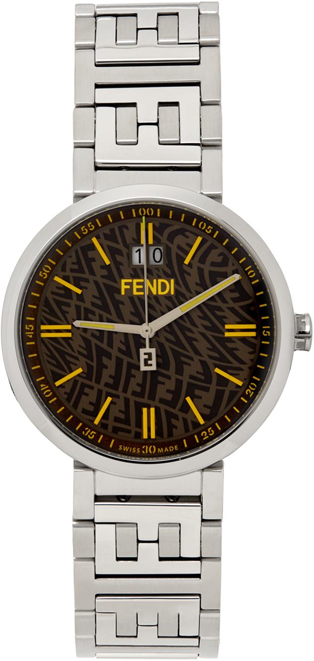 Photo: Fendi Silver & Brown Forever Fendi Watch