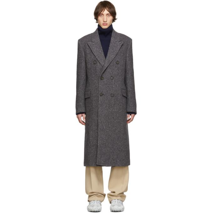 Photo: Acne Studios Grey Herringbone Double-Breasted Coat
